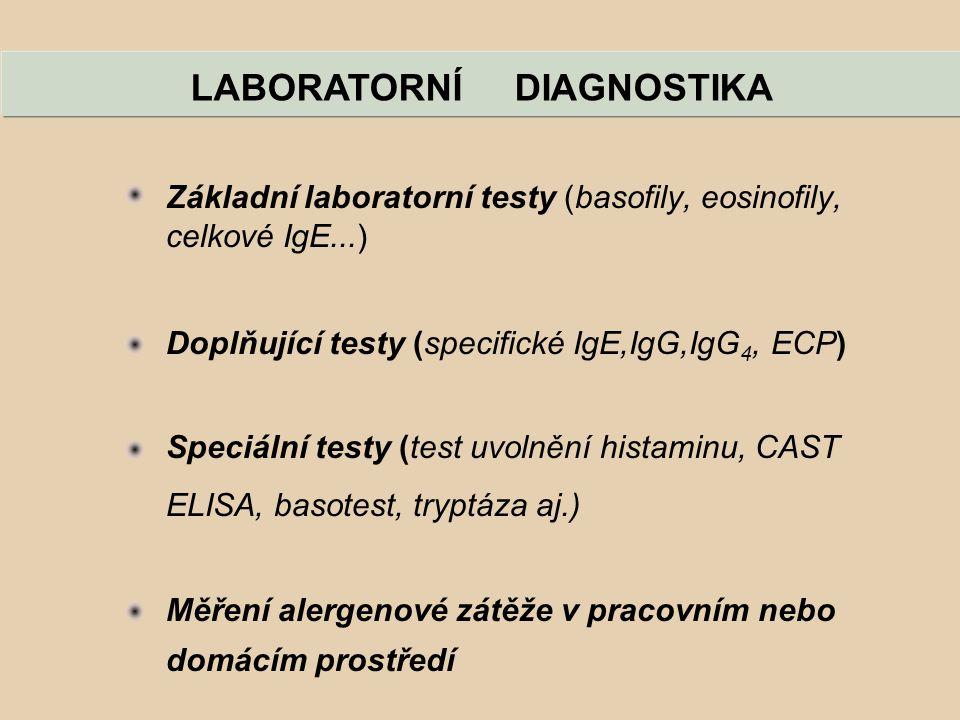 Základní laboratorní testy (basofily, eosinofily, celkové IgE...) Doplňující testy (specifické IgE,IgG,IgG 4, ECP) Speciální testy (test uvolnění hist