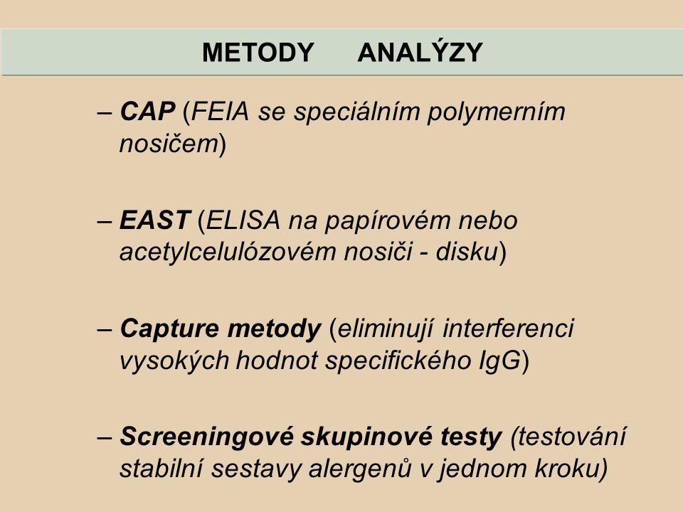 METODY ANALÝZY –CAP (FEIA se speciálním polymerním nosičem) –EAST (ELISA na papírovém nebo acetylcelulózovém nosiči - disku) –Capture metody (eliminuj