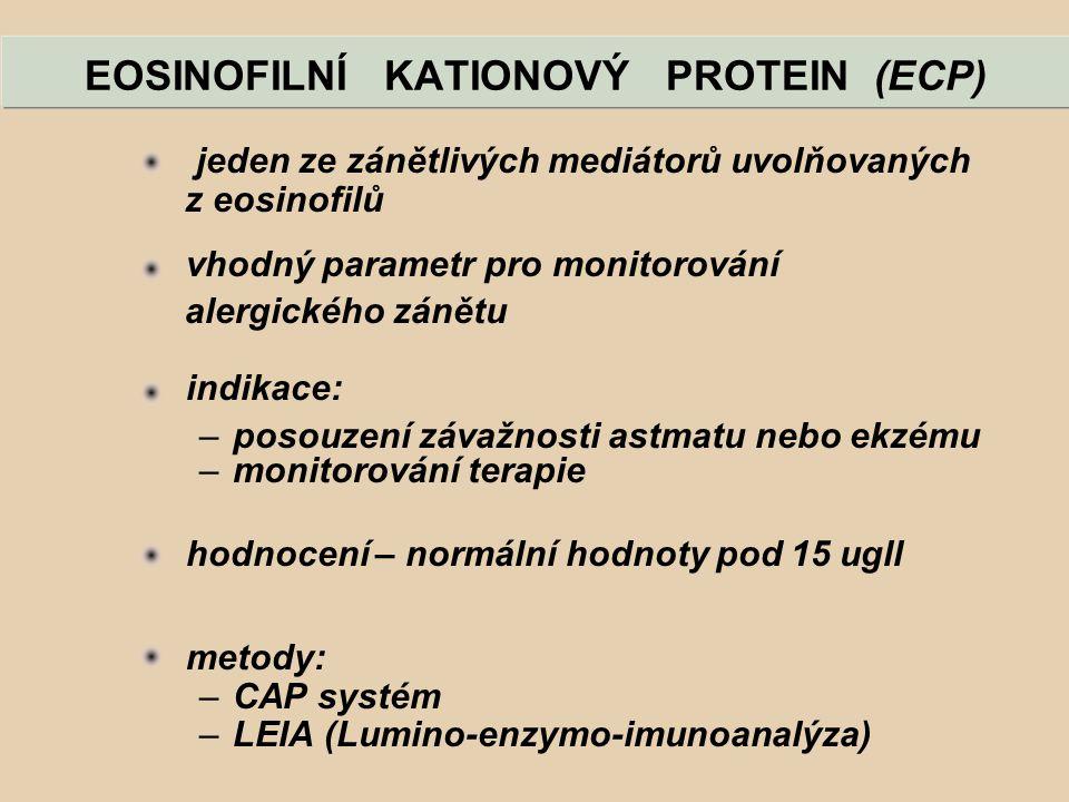 EOSINOFILNÍ KATIONOVÝ PROTEIN (ECP) jeden ze zánětlivých mediátorů uvolňovaných z eosinofilů vhodný parametr pro monitorování alergického zánětu indik