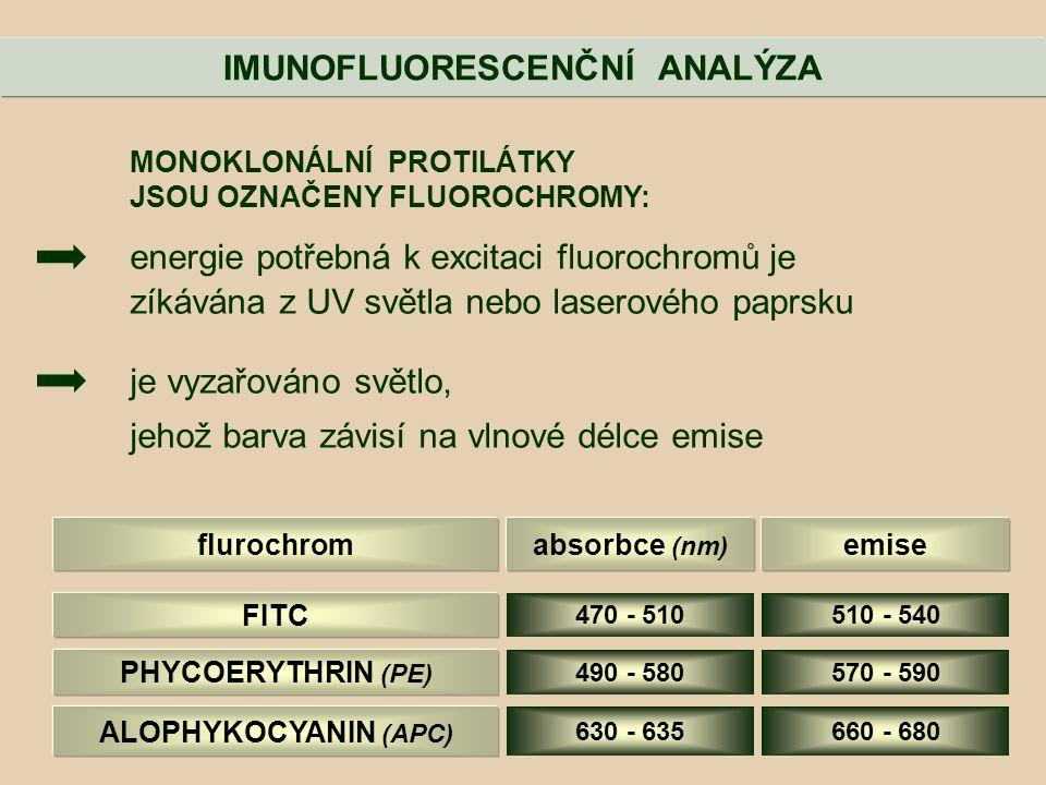 MONOKLONÁLNÍ PROTILÁTKY JSOU OZNAČENY FLUOROCHROMY: energie potřebná k excitaci fluorochromů je zíkávána z UV světla nebo laserového paprsku je vyzařo