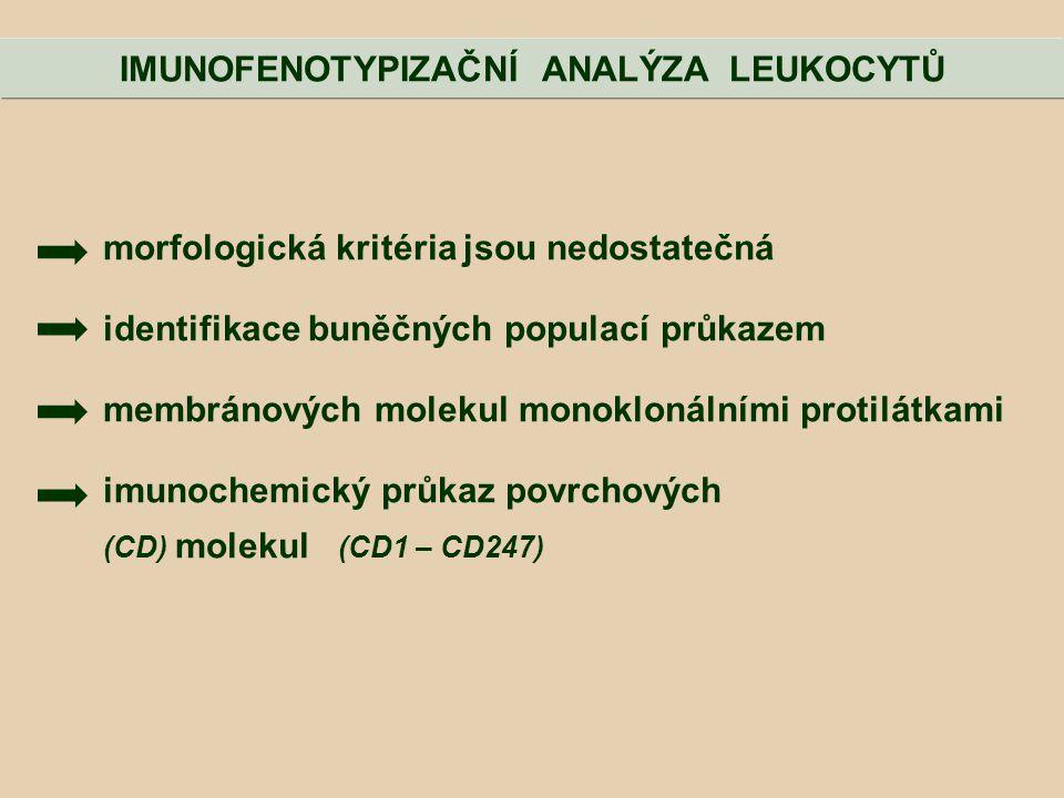 morfologická kritéria jsou nedostatečná identifikace buněčných populací průkazem membránových molekul monoklonálními protilátkami imunochemický průkaz