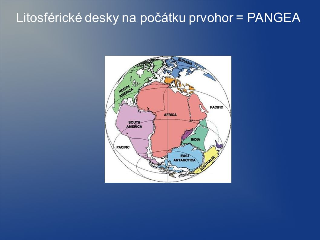 Litosférické desky na počátku prvohor = PANGEA