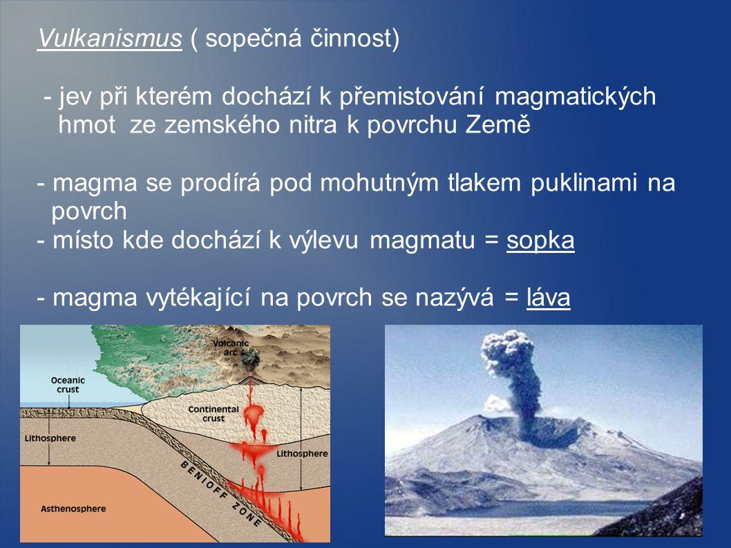 Vulkanismus ( sopečná činnost) - jev při kterém dochází k přemistování magmatických hmot ze zemského nitra k povrchu Země - magma se prodírá pod mohut