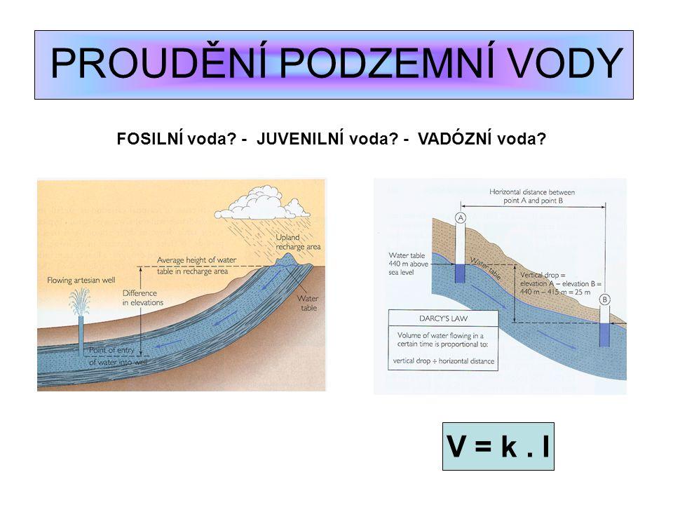 PROUDĚNÍ PODZEMNÍ VODY V = k. I FOSILNÍ voda? - JUVENILNÍ voda? - VADÓZNÍ voda?
