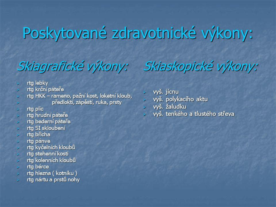 Poskytované zdravotnické výkony: Skiagrafické výkony:  rtg lebky  rtg krční páteře  rtg HKK – rameno, pažní kost, loketní kloub,  předloktí, zápěs