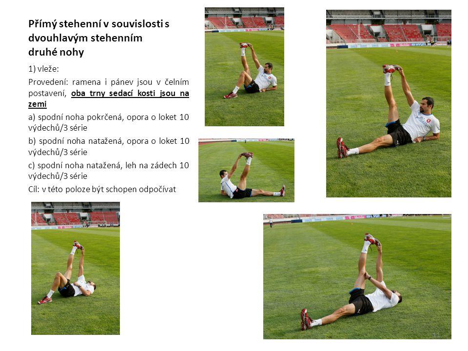 Přímý stehenní v souvislosti s dvouhlavým stehenním druhé nohy 1) vleže: Provedení: ramena i pánev jsou v čelním postavení, oba trny sedací kosti jsou