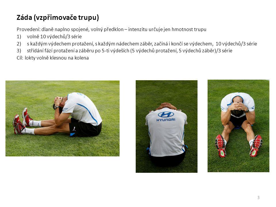 Břicho Provedení: 5 hlubokých nádechů do spodní části břicha hlava rovně/s rotací ramen (jedno dopředu, druhé dozadu) pohled na paty 1) vzpor na loktech, hlava rovně nebo do druhé strany břicha než se koukám, s vytočením na obě strany vždy 5 nádechů/3 série 2) na propnutých pažích, hlava rovně nebo do druhé strany břicha než se koukám s vytočením na obě strany vždy 5 nádechů/3 série 4
