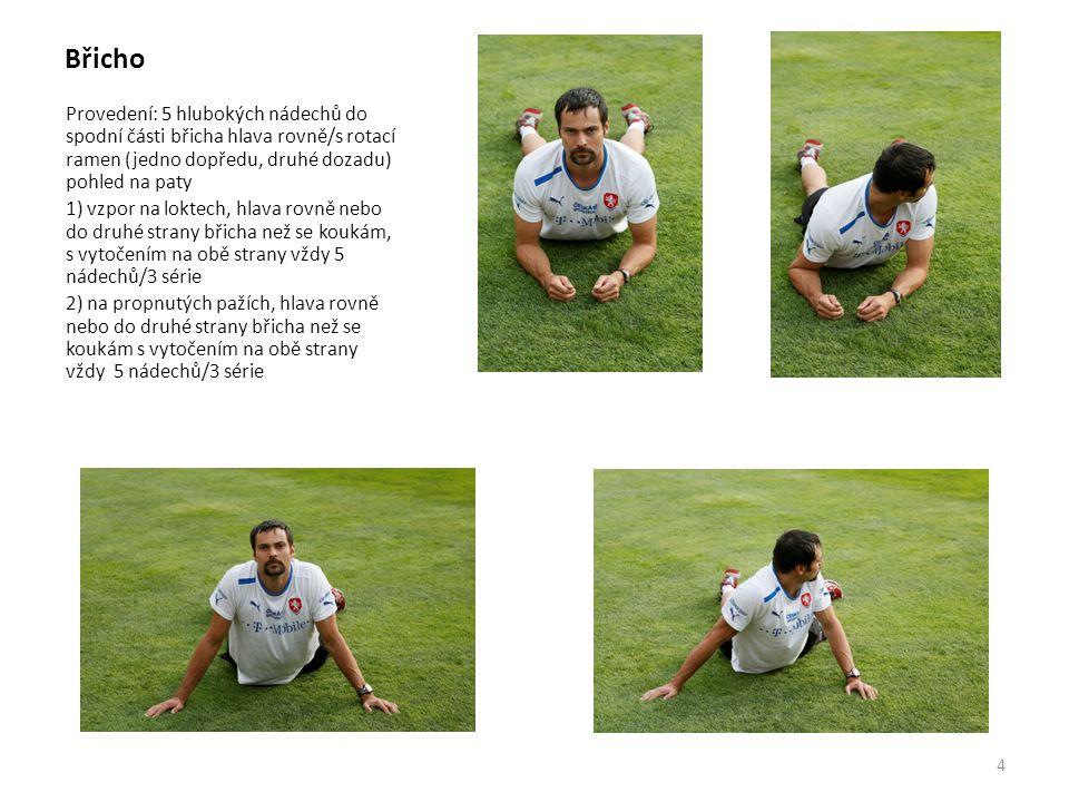 Břicho Provedení: 5 hlubokých nádechů do spodní části břicha hlava rovně/s rotací ramen (jedno dopředu, druhé dozadu) pohled na paty 1) vzpor na lokte