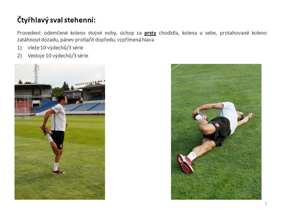 Čtyřhlavý sval stehenní: Provedení: odemčené koleno stojné nohy, úchop za prsty chodidla, kolena u sebe, protahované koleno zatáhnout dozadu, pánev pr