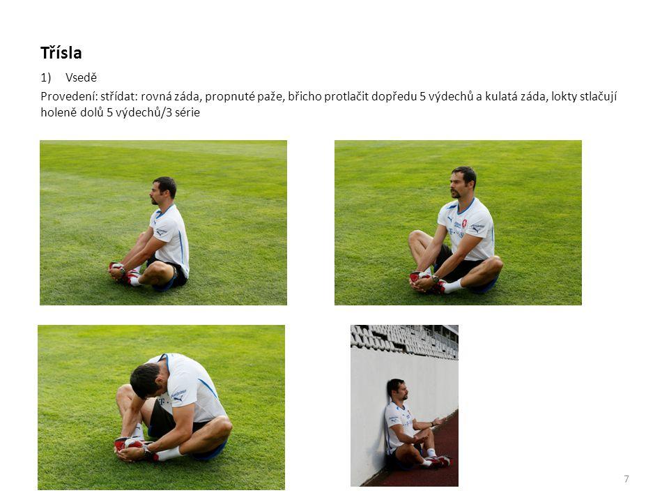 Třísla 2) Vkleče Provedení: celá plocha vnitřního nártu je na zemi střídat 5 výdechů v čelním postavení a 5 výdechů v úklonu do obou stran/3 série 3) ve výpadu Provedení: nárt zadní nohy je na zemi, 90° mezi chodidlem přední nohy a holení zadní nohy, jedna ruka za tělem, druhá ruka tlačí do kolene ven, boky protlačené za přední nohou 10 výdechů/3 série 8