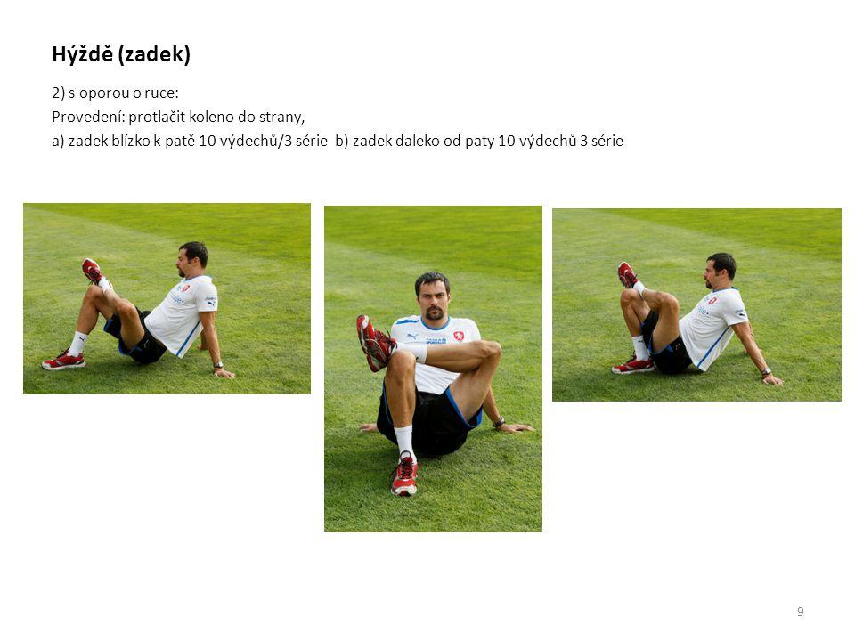 Hýždě (zadek) 2) s oporou o ruce: Provedení: protlačit koleno do strany, a) zadek blízko k patě 10 výdechů/3 série b) zadek daleko od paty 10 výdechů