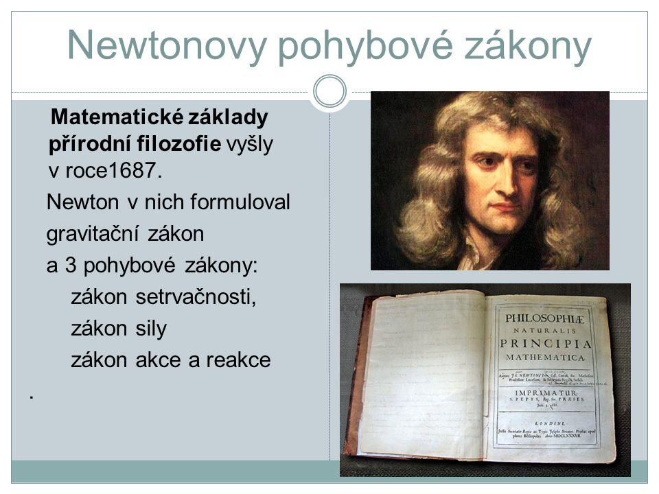 Newtonovy pohybové zákony Matematické základy přírodní filozofie vyšly v roce1687.