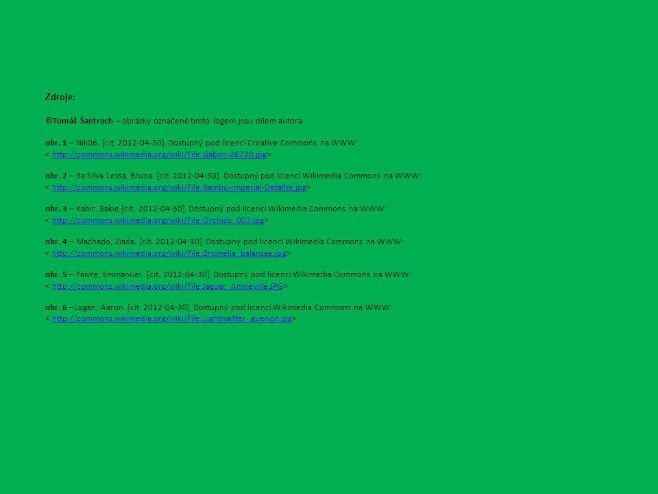 Zdroje: ©Tomáš Šantroch – obrázky označené tímto logem jsou dílem autora obr. 1 – Nik06. [cit. 2012-04-30]. Dostupný pod licencí Creative Commons na W