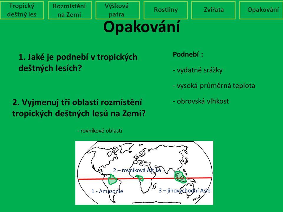 1. Jaké je podnebí v tropických deštných lesích? 2. Vyjmenuj tři oblasti rozmístění tropických deštných lesů na Zemi? Opakování Tropický deštný les Ro