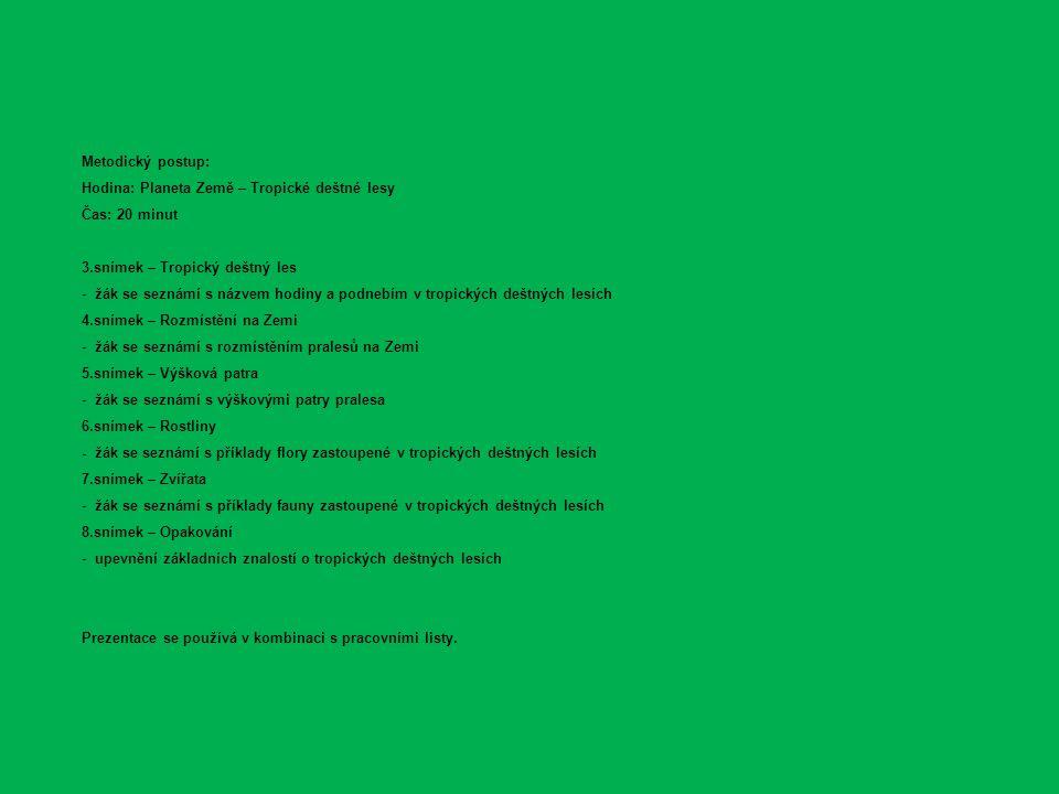 Metodický postup: Hodina: Planeta Země – Tropické deštné lesy Čas: 20 minut 3.snímek – Tropický deštný les - žák se seznámí s názvem hodiny a podnebím