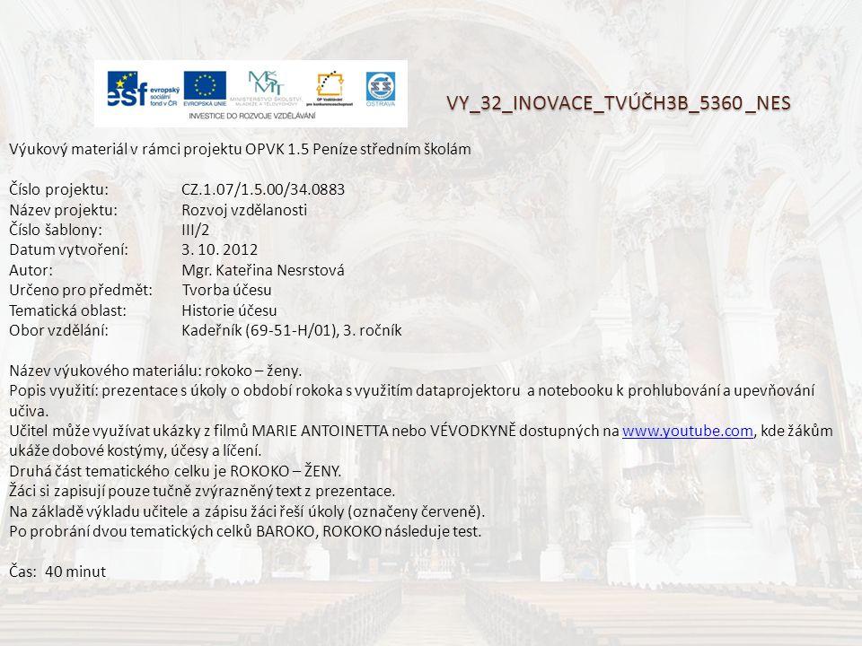 VY_32_INOVACE_TVÚČH3B_5360 _NES Výukový materiál v rámci projektu OPVK 1.5 Peníze středním školám Číslo projektu:CZ.1.07/1.5.00/34.0883 Název projektu