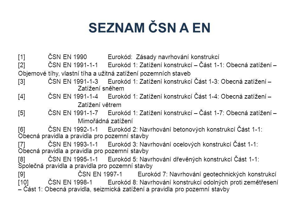 [1] ČSN EN 1990 Eurokód: Zásady navrhování konstrukcí [2] ČSN EN 1991-1-1Eurokód 1: Zatížení konstrukcí – Část 1-1: Obecná zatížení – Objemové tíhy, vlastní tíha a užitná zatížení pozemních staveb [3] ČSN EN 1991-1-3Eurokód 1: Zatížení konstrukcí Část 1-3: Obecná zatížení – Zatížení sněhem [4] ČSN EN 1991-1-4Eurokód 1: Zatížení konstrukcí Část 1-4: Obecná zatížení – Zatížení větrem [5] ČSN EN 1991-1-7Eurokód 1: Zatížení konstrukcí – Část 1-7: Obecná zatížení – Mimořádná zatížení [6] ČSN EN 1992-1-1Eurokód 2: Navrhování betonových konstrukcí Část 1-1: Obecná pravidla a pravidla pro pozemní stavby [7] ČSN EN 1993-1-1Eurokód 3: Navrhování ocelových konstrukcí Část 1-1: Obecná pravidla a pravidla pro pozemní stavby [8] ČSN EN 1995-1-1Eurokód 5: Navrhování dřevěných konstrukcí Část 1-1: Společná pravidla a pravidla pro pozemní stavby [9]ČSN EN 1997-1Eurokód 7: Navrhování geotechnických konstrukcí [10]ČSN EN 1998-1Eurokód 8: Navrhování konstrukcí odolných proti zemětřesení – Část 1: Obecná pravidla, seizmická zatížení a pravidla pro pozemní stavby SEZNAM ČSN A EN