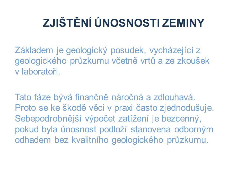 ZJIŠTĚNÍ ÚNOSNOSTI ZEMINY Základem je geologický posudek, vycházející z geologického průzkumu včetně vrtů a ze zkoušek v laboratoři.