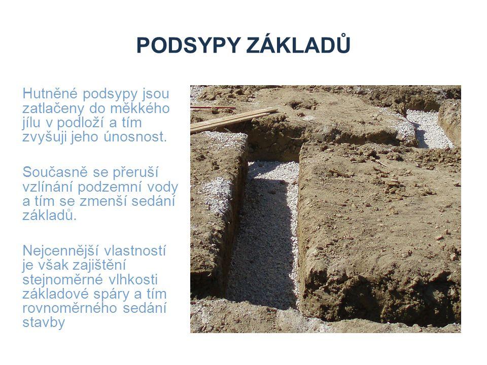 PODSYPY ZÁKLADŮ Hutněné podsypy jsou zatlačeny do měkkého jílu v podloží a tím zvyšuji jeho únosnost. Současně se přeruší vzlínání podzemní vody a tím