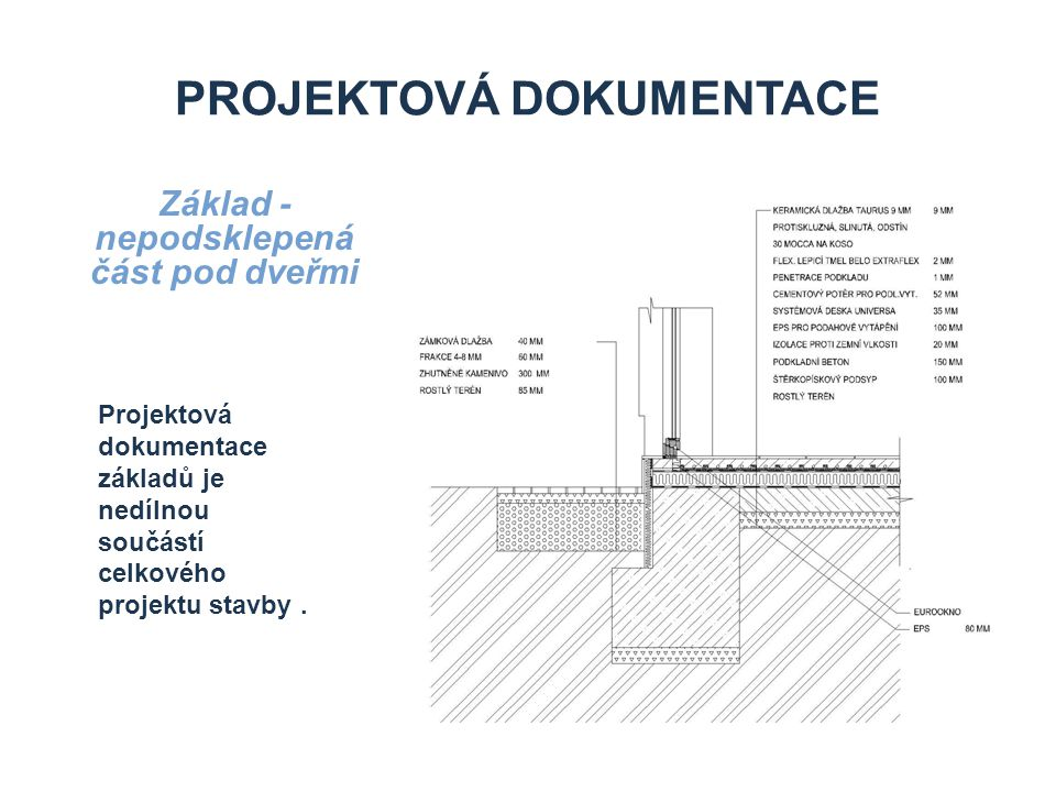 PROJEKTOVÁ DOKUMENTACE Základ - nepodsklepená část Rozměry a typ základů určí projektant statiky podle gelogického průzkumu a statického výpočtu
