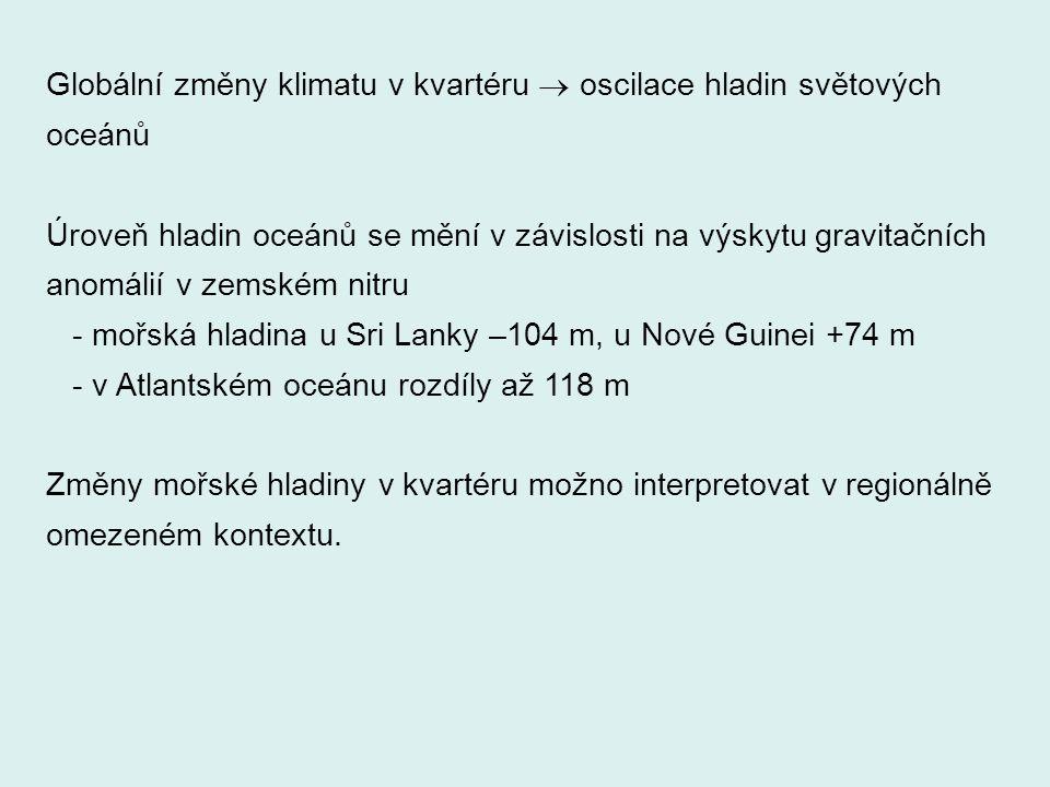 Příčiny oscilací mořské hladiny v kvartéru 1. Glacieustatické pohyby mořské hladiny