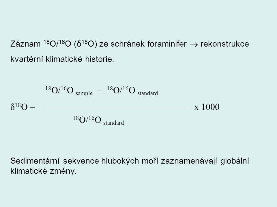Záznam 18 O/ 16 O (δ 18 O) ze schránek foraminifer  rekonstrukce kvartérní klimatické historie. 18 O/ 16 O sample – 18 O/ 16 O standard δ 18 O = x 10