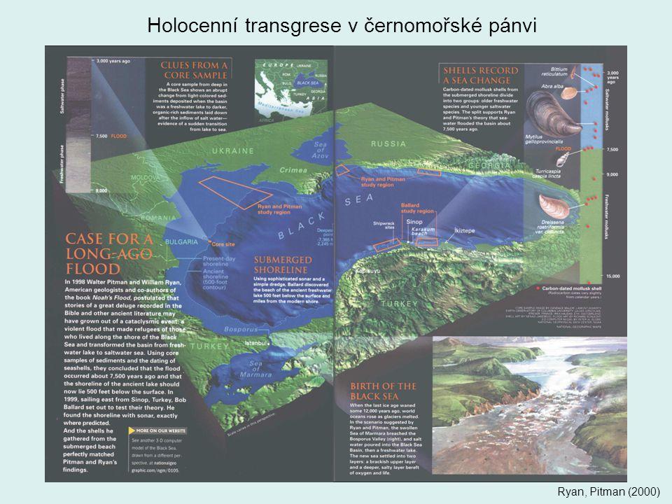 Holocenní transgrese v černomořské pánvi Ryan, Pitman (2000)