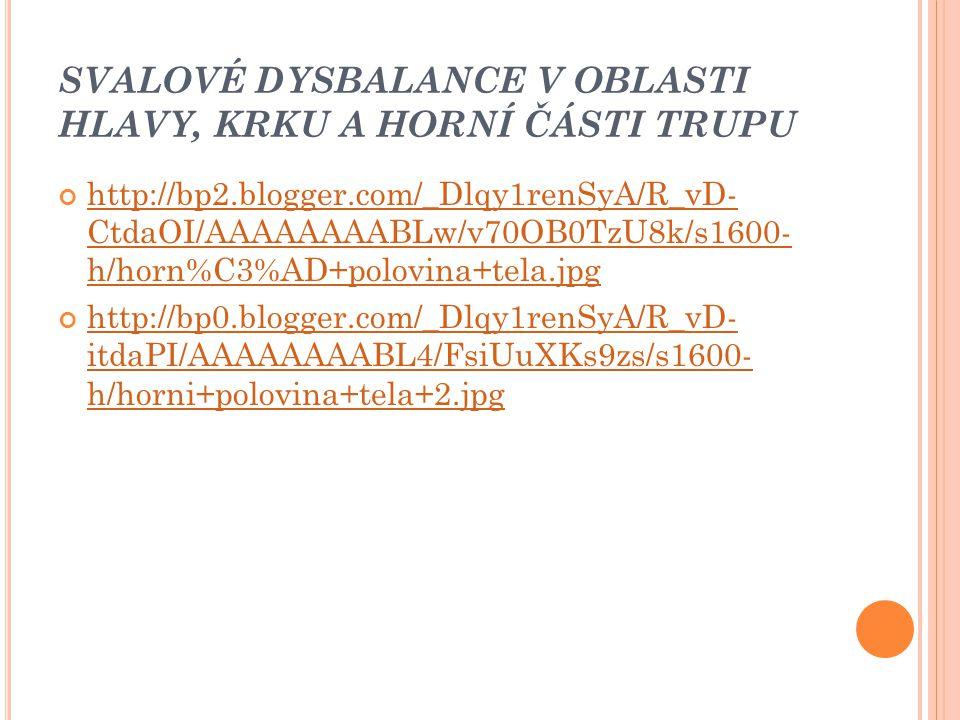 SVALOVÉ DYSBALANCE V OBLASTI HLAVY, KRKU A HORNÍ ČÁSTI TRUPU http://bp2.blogger.com/_Dlqy1renSyA/R_vD- CtdaOI/AAAAAAAABLw/v70OB0TzU8k/s1600- h/horn%C3