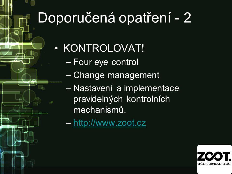 Doporučená opatření - 2 KONTROLOVAT.