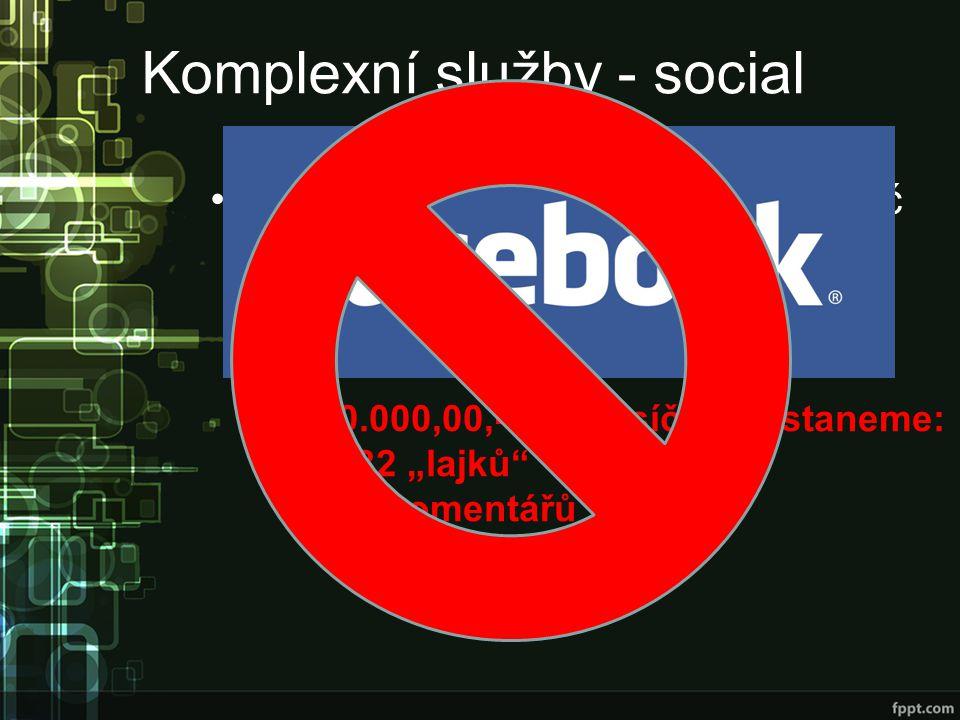 """Komplexní služby - social Pro jednoduchost: 200.000,00,- Kč –50% na internetový marketing 100.000,00,- Kč –Sociální marketing 10% z této částky Za 10.000,00,- Kč měsíčně dostaneme: 482 """"lajků 84 komentářů 0,75 Tweetu"""