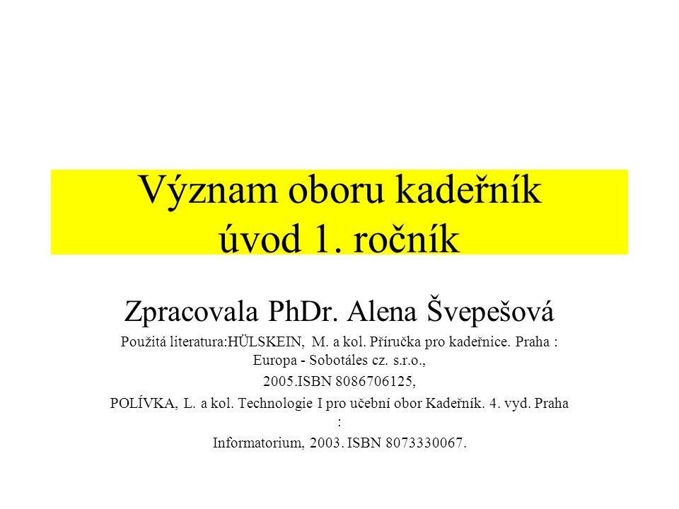 Význam oboru kadeřník úvod 1.ročník Zpracovala PhDr.