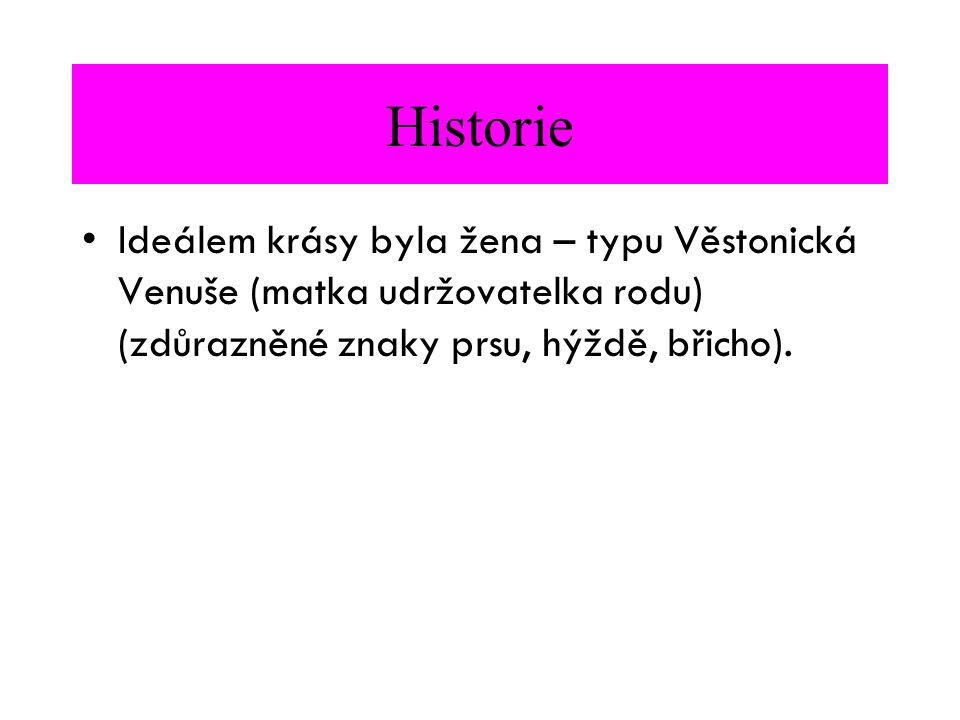 Historie Ideálem krásy byla žena – typu Věstonická Venuše (matka udržovatelka rodu) (zdůrazněné znaky prsu, hýždě, břicho).