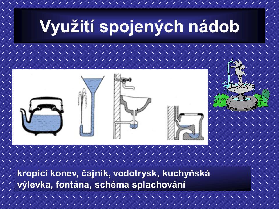 Využití spojených nádob kropící konev, čajník, vodotrysk, kuchyňská výlevka, fontána, schéma splachování