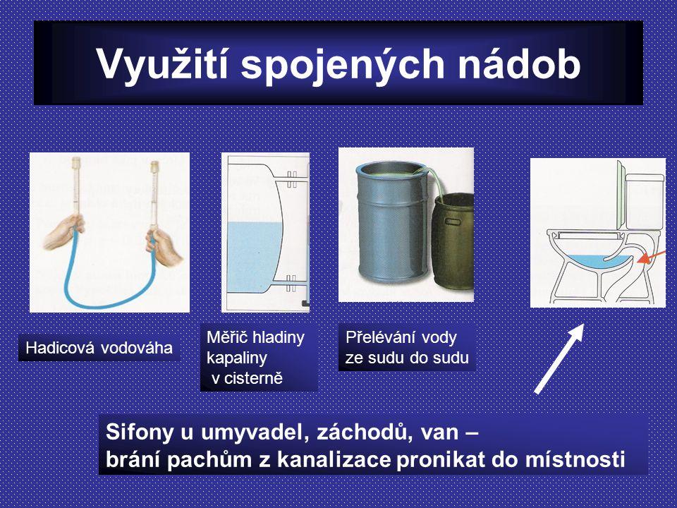 Využití spojených nádob Sifony u umyvadel, záchodů, van – brání pachům z kanalizace pronikat do místnosti Přelévání vody ze sudu do sudu Měřič hladiny