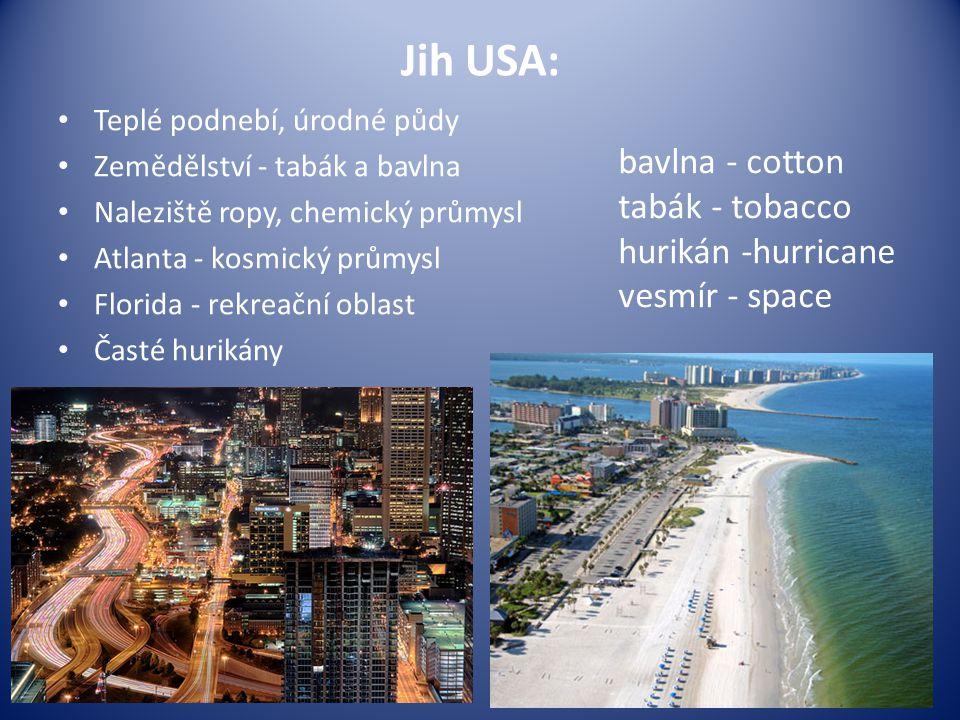 Jih USA: Teplé podnebí, úrodné půdy Zemědělství - tabák a bavlna Naleziště ropy, chemický průmysl Atlanta - kosmický průmysl Florida - rekreační oblas