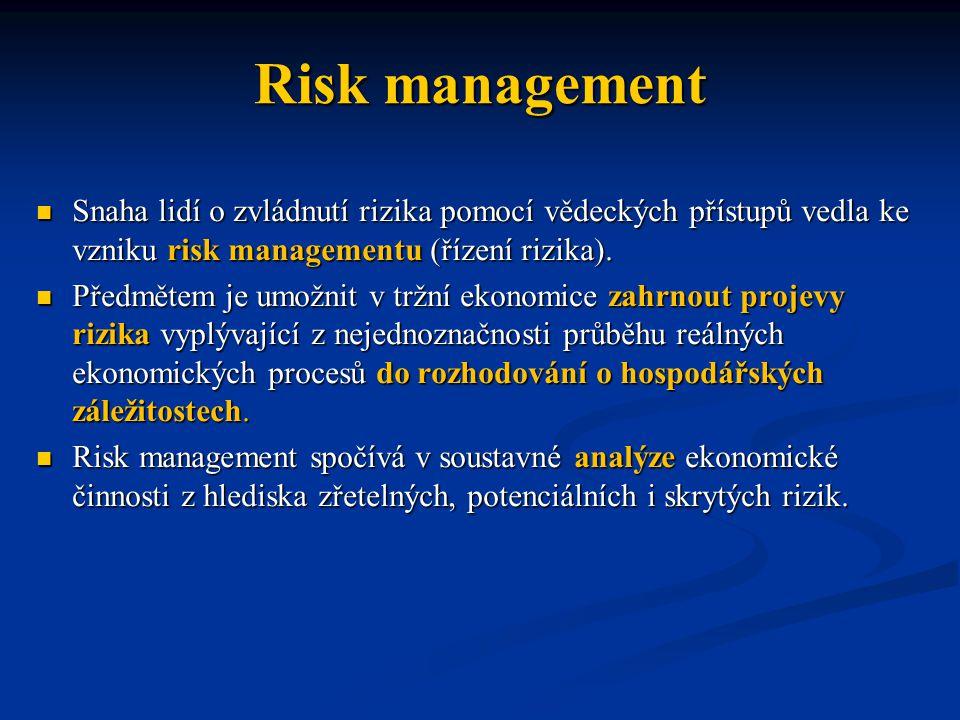 Risk management Snaha lidí o zvládnutí rizika pomocí vědeckých přístupů vedla ke vzniku risk managementu (řízení rizika).