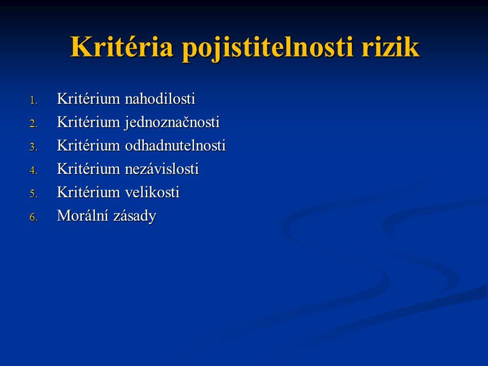 Kritéria pojistitelnosti rizik 1. Kritérium nahodilosti 2.