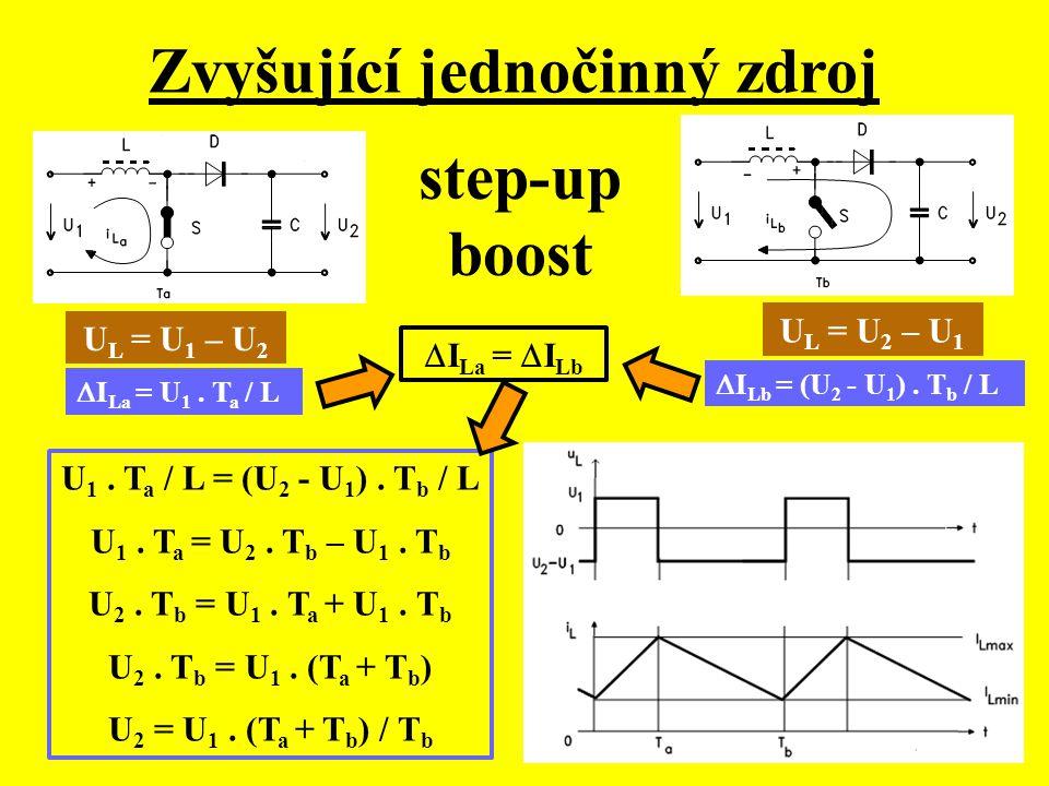 Zvyšující jednočinný zdroj U L = U 1 – U 2 U L = U 2 – U 1  I La = U 1. T a / L  I Lb = (U 2 - U 1 ). T b / L  I La =  I Lb U 1. T a / L = (U 2 -