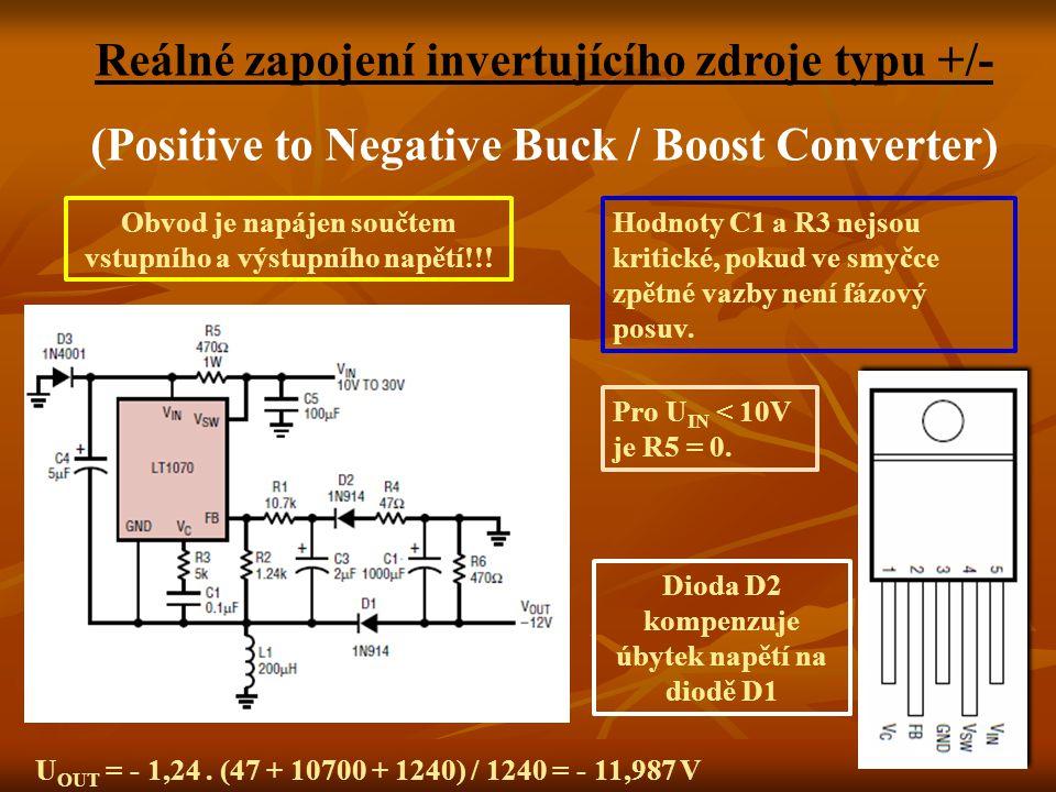 Reálné zapojení invertujícího zdroje typu +/- (Positive to Negative Buck / Boost Converter) Obvod je napájen součtem vstupního a výstupního napětí!!.