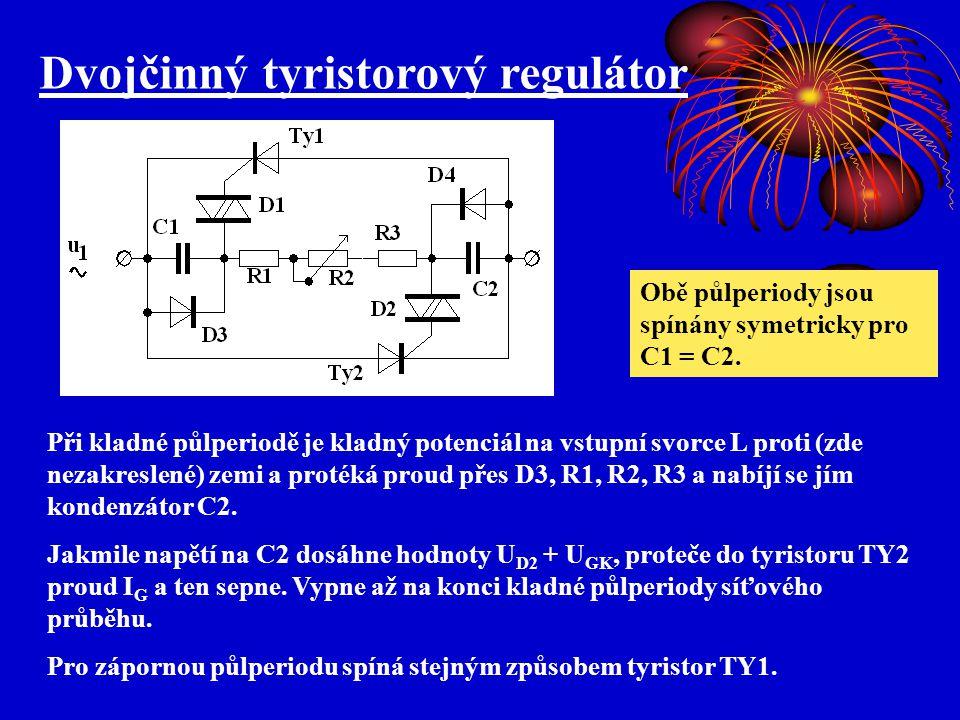Dvojčinný tyristorový regulátor Při kladné půlperiodě je kladný potenciál na vstupní svorce L proti (zde nezakreslené) zemi a protéká proud přes D3, R1, R2, R3 a nabíjí se jím kondenzátor C2.