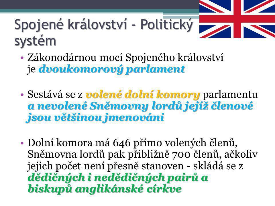 Spojené království - Politický systém dvoukomorový parlamentZákonodárnou mocí Spojeného království je dvoukomorový parlament volené dolní komory a nev