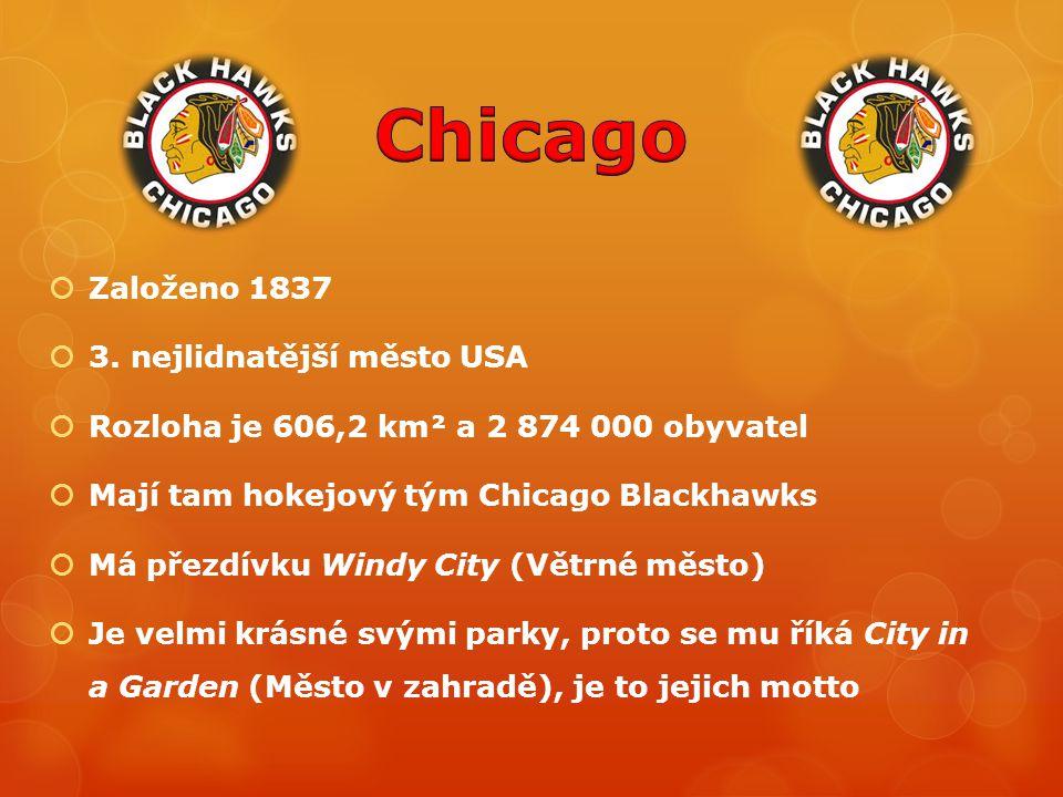  Založeno 1837  3. nejlidnatější město USA  Rozloha je 606,2 km² a 2 874 000 obyvatel  Mají tam hokejový tým Chicago Blackhawks  Má přezdívku Win