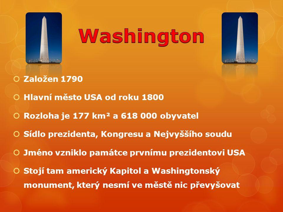  Založen 1790  Hlavní město USA od roku 1800  Rozloha je 177 km² a 618 000 obyvatel  Sídlo prezidenta, Kongresu a Nejvyššího soudu  Jméno vzniklo