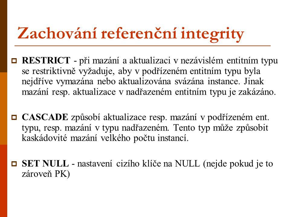 Zachování referenční integrity  RESTRICT - při mazání a aktualizaci v nezávislém entitním typu se restriktivně vyžaduje, aby v podřízeném entitním ty