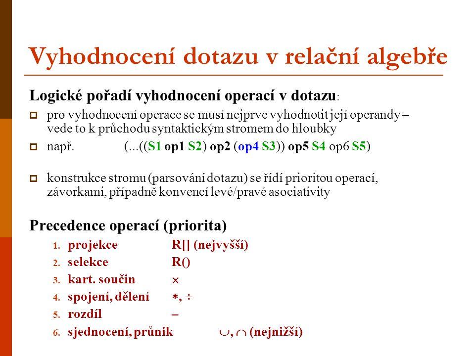 Vyhodnocení dotazu v relační algebře Logické pořadí vyhodnocení operací v dotazu :  pro vyhodnocení operace se musí nejprve vyhodnotit její operandy