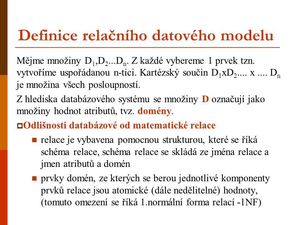 Definice relačního datového modelu Mějme množiny D 1,D 2...D n. Z každé vybereme 1 prvek tzn. vytvoříme uspořádanou n-tici. Kartézský součin D 1 xD 2.