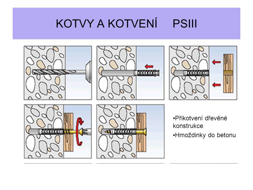 KOTVY A KOTVENÍ PSIII Přikotvení dřevěné konstrukce Hmoždinky do betonu