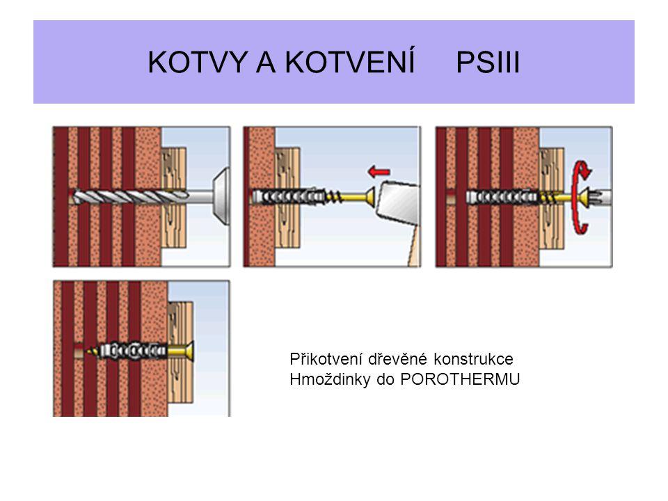 KOTVY A KOTVENÍ PSIII Přikotvení dřevěné konstrukce Hmoždinky do POROTHERMU