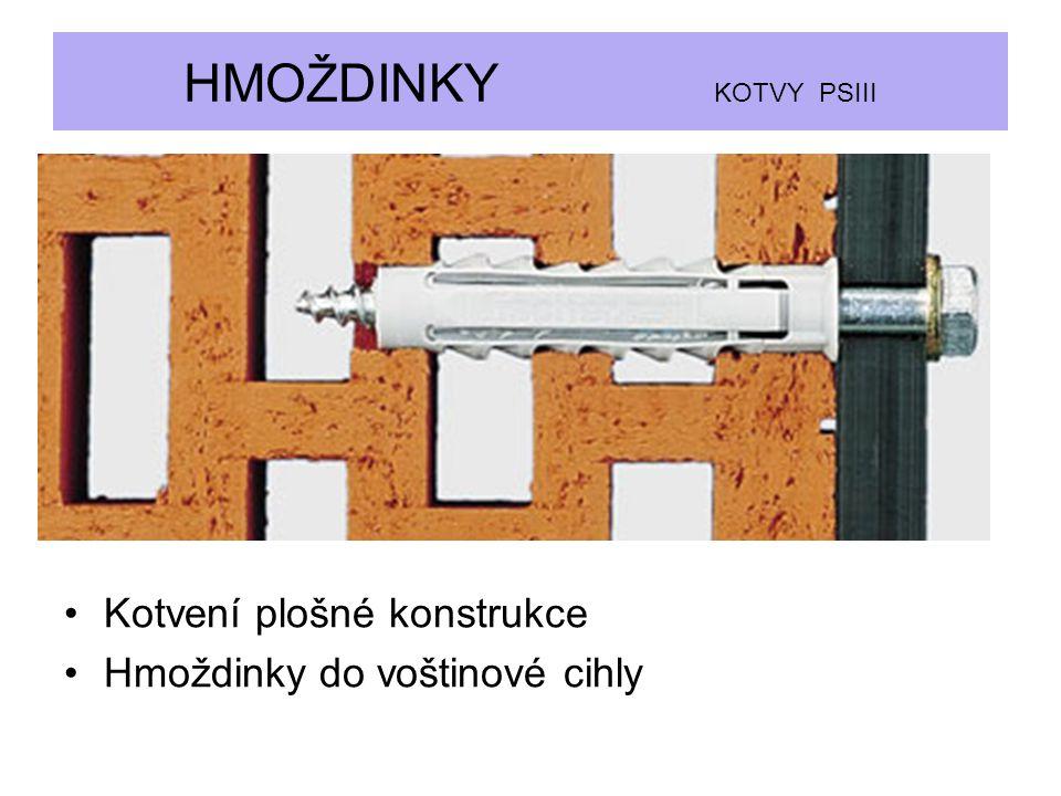 HMOŽDINKY KOTVY PSIII Kotvení plošné konstrukce Hmoždinky do voštinové cihly