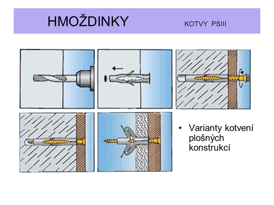 Varianty kotvení plošných konstrukcí